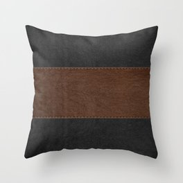 Brown & Black Stitched Leather Throw Pillow
