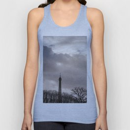 Eiffel tower cloudy day Unisex Tank Top