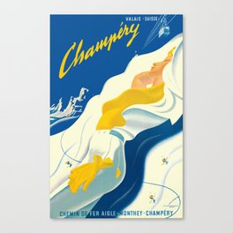 Vintage Champery Switzerland Travel Canvas Print
