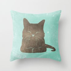 Happy cat illustration in blue and brown Throw Pillow
