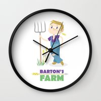 clint barton Wall Clocks featuring Clint Barton the Farmer by Alice Wieckowska