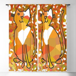 Crystal Cat - Gold Blackout Curtain