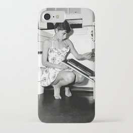 Audrey Hepburn in Kitchen, Black and White Vintage Art iPhone Case