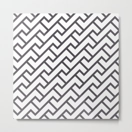 Monochrome Intricate Pattern Delta Metal Print