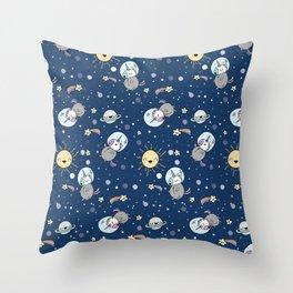 Cute Unicorns In Space Throw Pillow