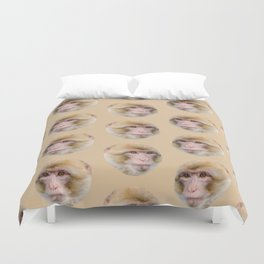 funny cute japanese macaque monkey pattern Duvet Cover