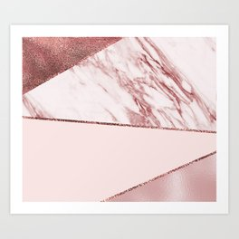 Spliced mixed pinks rose gold marble Art Print