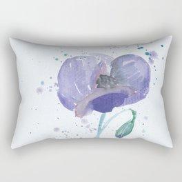 Blue Poppy flower illustration painting in watercolor Rectangular Pillow