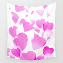 Blended Pink Hearts Wall Tapestry