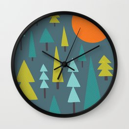 Trees & Night Moon Wall Clock