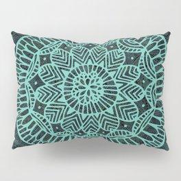 Blue Doodle Mandala Pillow Sham