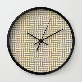 Grey Beige Houndstooth Pattern Wall Clock