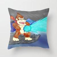 donkey kong Throw Pillows featuring Donkey Kong Super Kamehameha by Juiceboxkiller