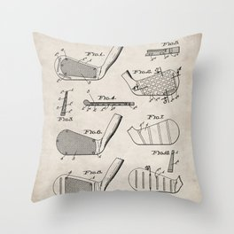 Golf Clubs Patent - Golfing Art - Antique Throw Pillow