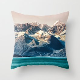 Scenic sunset Alaskan nature glacier landscape wilderness Throw Pillow