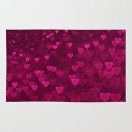Valentine's Day | Romantic Crimson Galaxy | Universe of pink purple hearts Rug