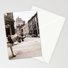 Photograph of Beautiful Street in Old Port Montreal, with a Horse Walking into Sight Stationery Cards