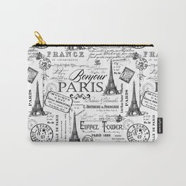 Vintage Paris Black And White Nostalgic Pattern Carry-All Pouch