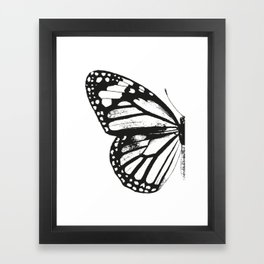 Monarch Butterfly | Left Butterfly Wing | Vintage Butterflies | Black and White | Framed Art Print