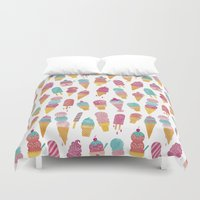 ice cream Duvet Covers featuring Ice Cream by Jacqui Lee
