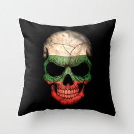 Dark Skull with Flag of Bulgaria Throw Pillow
