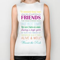 winnie the pooh Biker Tanks featuring Winnie the Pooh Friendship Quote - Bright Colors by Jaydot Creative