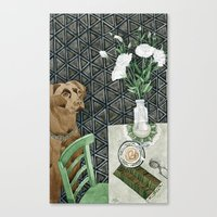 labrador Canvas Prints featuring Geometry Labrador by Yuliya