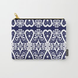 Retro . Lace blue white pattern . White lace on blue background . Carry-All Pouch