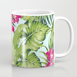 Bird of Paradise Greenery Aloha Hawaiiana Rainforest Tropical Leaves Floral Pattern Coffee Mug