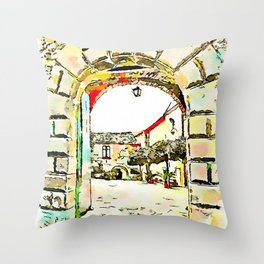 Vatolla: entrance castle and courtyard Throw Pillow