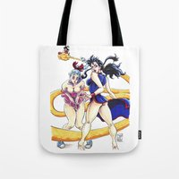 dbz Tote Bags featuring DBZ Pin Up 1 by Juan Pablo Cortes