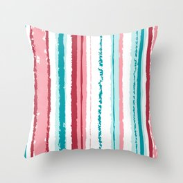 Grunge Red White and Blue Faded Candy Stripes Throw Pillow