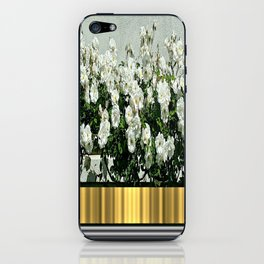 Wild white roses  with golden ribbon iPhone Skin