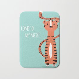 Tiger card - come to my party Bath Mat