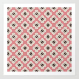Starburst Floral, Scandinavian Pink background Art Print