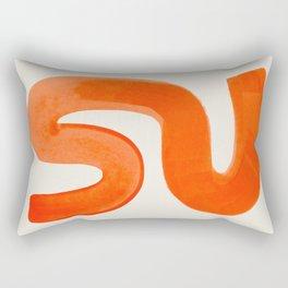 Mid Century Modern Abstract Minimalist Abstract Vintage Retro Orange Watercolor Brush Strokes Rectangular Pillow