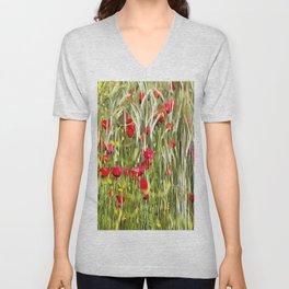 Red Corn Poppies Unisex V-Neck
