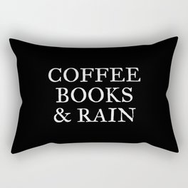 Coffee Books & Rain - Black Rectangular Pillow