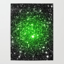galAxy. Stars Lime Green Poster