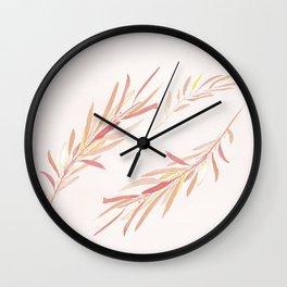 Eucalyptus Leaves Pink Wall Clock