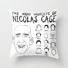 The Many Haircuts Of Nicolas Cage. Throw Pillow