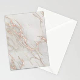 Marble Rose Gold Blush Pink Metallic by Nature Magick Stationery Cards
