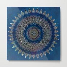 Blue Detailed Mandala Esoteric Pattern Metal Print