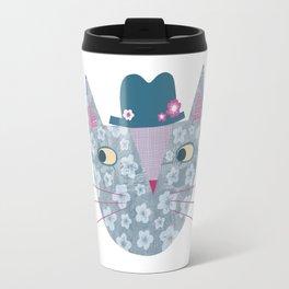 Flowery Cat in a Flowery Hat Travel Mug