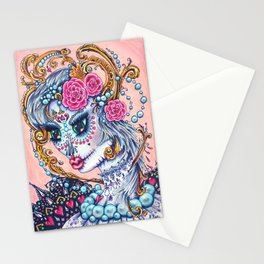 Pink Victorian Queen of Hearts wearing roses in Sugar Skull Make up for Day of the Dead Festival Stationery Cards