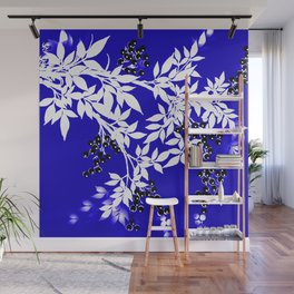 LEAF AND TREE BRANCHES BLUE AD WHITE BLACK BERRIES Wall Mural