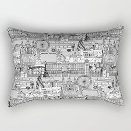London toile black white Rectangular Pillow