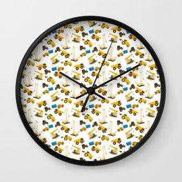 Heavy machinery watercolor pattern Wall Clock