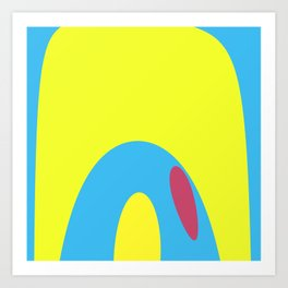 Nouveau Retro Graphic Yellow Blue and Red Art Print