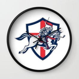 English Knight Golf Club Lance Shield Retro Wall Clock